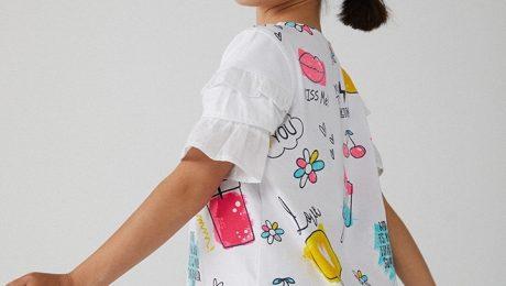 vestito manica corta bianco con stampe bimba boboli 2020